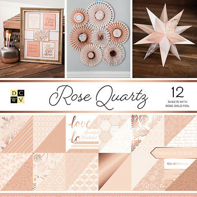 """PS005561 DCWV Paper Stack Double-Sided 12""""X12"""" -Rose Quartz, 12 W/Rose Gold Foil"""