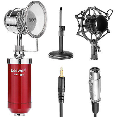 Neewer NW-1500 Red Desktop Broadcast Recording Condenser Microphone Kit