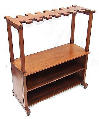 Antique Edwardian Mahogany Boot & Shoe Stand / Rack : 8 Pairs Boots