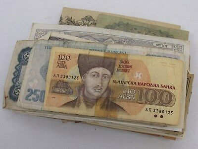 Job Lot of 100 Mixed Used Banknotes from Around the World - LOT #10 - TRO P1