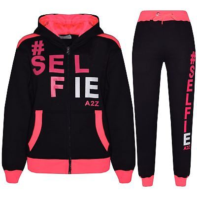 Kids Tracksuit Girls Boys Designer's #Selfie Hooded Top Bottom Jogging Suit 7-13
