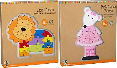 Orange Tree Toys ANIMAL NUMBER PUZZLE 12m+ Wooden Toy Lion/Mouse Gift BN