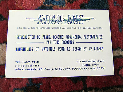 Ancienne Carte De Visite AVIAPLANS