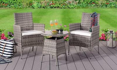 3PC Rattan Bistro Set Outdoor Garden Patio Furniture - 2 Chairs & Coffee Table