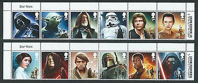 Great Britain 2015 Star Wars Set Of 12 In Title Strips Unmounted Mint, Mnh