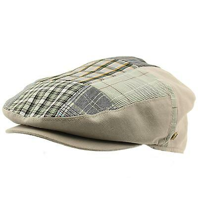 3952f774e MEN'S 100% COTTON 14 Patch Ivy Snap Front Driver Cabby Flat Cap Hat Gray