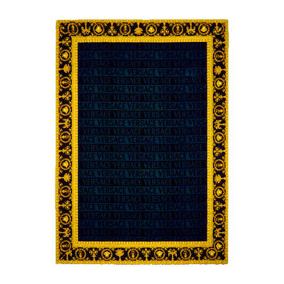 "Versace Baroque Jacquard Medusa Bath/Beach Towel Blue - 76.77"" x 57.09"""