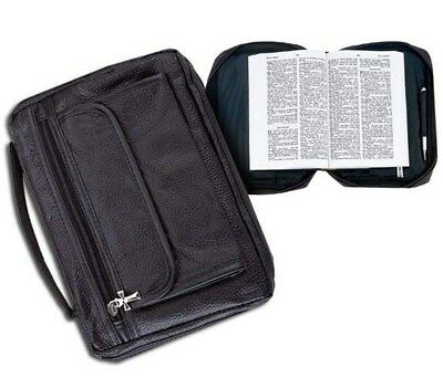 Holy Bible Cover Black Solid Genuine Leather Book Case Tote Bag Christian