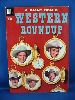 Dell Giant Western Roundup 10 Vf  1955 Photo Cover