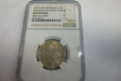 AH1314 PA MOROCCO 2.5 Dirhams Graded By NGC Unc Details