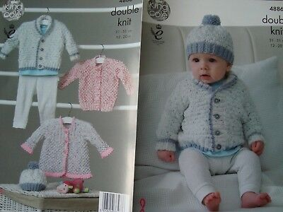 """King Cole 4886 Baby's Cardigans & Hat DK Knitting Pattern Sizes 12-20"""""""