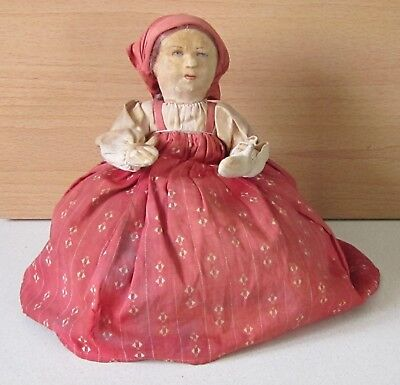 """Antique Early-1900s Tea Cozy. """"Peasant Girl w Strawberries"""" Made in Soviet Union"""