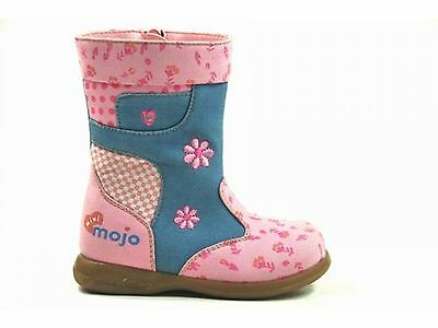 Mini Mojo Kids Baby Girls Toddler Pink Flower Boots Sizes 4 - 9 Rrp £26 Seconds