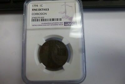1794 Large 1 Cent Graded By NGC Fine Details