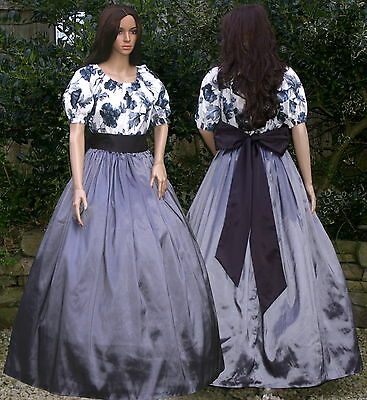 Ladies Victorian American Civil War 3pc costume fancy dress size 12-14 Grey&bl