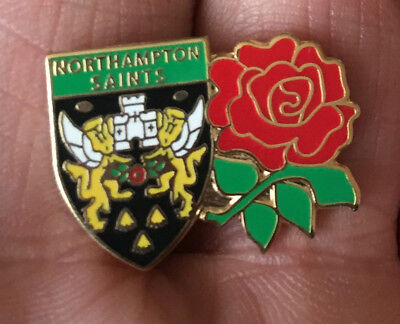 Northampton Saints-England Rose Twin  Rugby Union Enamel Pin Badge