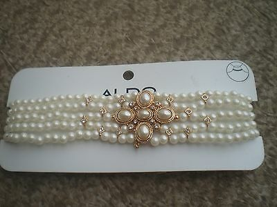 Aldo  Gold Tone Multi Strand White Faux Pearl  Choker Necklace