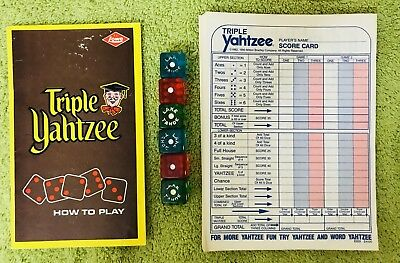 Vintage Triple Yahtzee Instructions & Misc Score Cards & Lake Tahoe Dice (6)