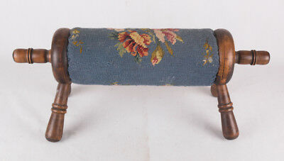 Vintage Needlepoint Rolling Pin Foot Rest, Stool, Handmade Ottoman