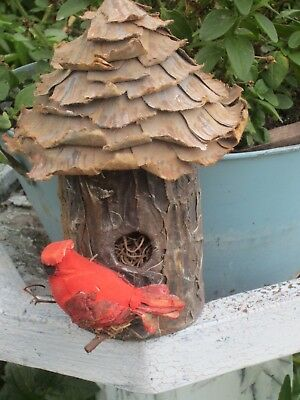 "Vintage Handmade Birdhouse 8"" High, Pointy Curly Roof Red Cardinal on Perch"