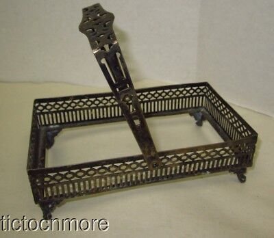 Vintage Sheffiled Nickel Silverart Deco Open Work Scroll Feet Rectangle Basket