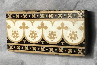 1) Victorian Minton Ceramic Border Tile Floor Fireplace Gothic Brown Tan Ivory