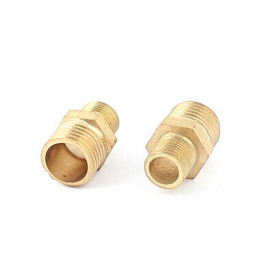 Water Oil Air Gas Fuel 1/4BSP to 1/8BSP Male Brass Hex Nipple Fitting 2pcs