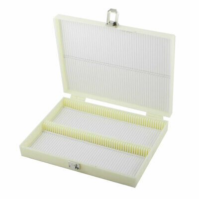 Beige Plastic 100 Compartments Glass Slide Box Microscope Storage Case