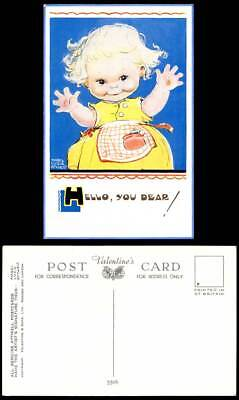 MABEL LUCIE ATTWELL Old Postcard Hello You Dears! 5506 Children Little Girl Hand