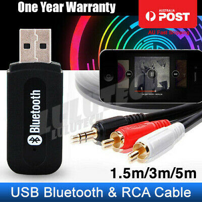 USB Bluetooth Audio Receiver Adaptor Wireless AUX + 3.5mm Male to 2RCA Male Cord