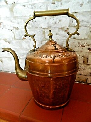 Gorgeous Decorated Antique Large Copper Kettle Brass Handle and Spout