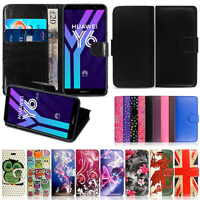 Leather Genuine Black Wallet Flip Stand Case Cover For Huawei Y6/Y7 Honor Phones