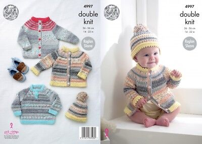 King Cole Baby Cardigans, Sweater & Hat Knitting Pattern 4997 DK (KCP-4997)