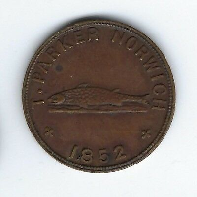 GREAT BRITAIN Norfolk Unofficial Farthing T. Parker Game Dealer 1852 Inv 2957