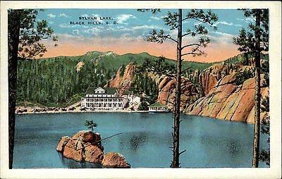 Black Hills South Dakota America vintage postcard ~1920/30 Sylvan Lake Panorama