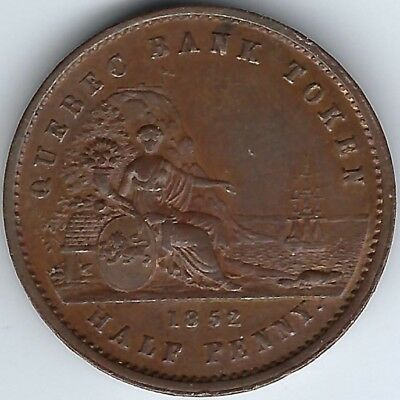 PROVINCE OF CANADA Quebec Bank 1852 Halfpenny Breton 529, PC-3 Inv 1875
