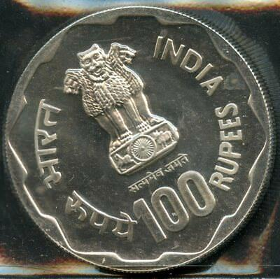 India 1980 100 Rupees Silver Uncirculated Coin As Shown You Do The Grading