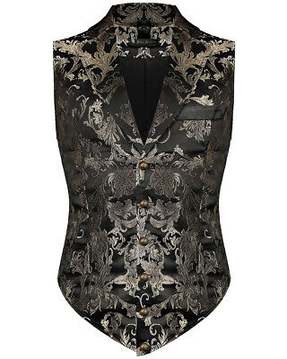 Devil Fashion Mens Aristocrat Waistcoat Vest Black Gold Brocade Gothic Steampunk