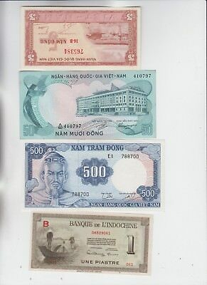 Viet Nam Paper Money 4 old notes Uncirculated