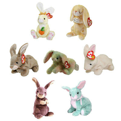 TY Beanie Babies - SET OF 7 BUNNIES (Nibbly, Nibbler, Cottonball, Grace, Spring+
