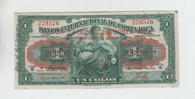 Costa Rica Paper Money fine plus with writing and stains