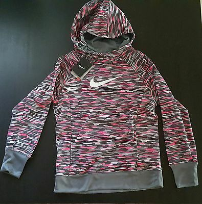 e50cbe4b443c  50.00 Nike Therma-Fit Pullover Hoodie Grey Vivid Pink Kids Girl s Size  Large