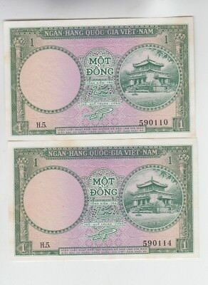 Viet Nam Paper Money 5 old notes Choice uncirculated
