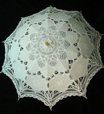 Cotton Lace Parasol White battenburg lace Victorian Edwardian vintage style new