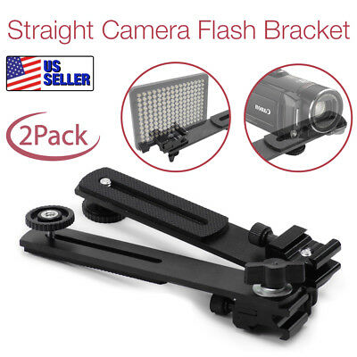 "|2Pack| 6.3"" Straight Adjustable Bracket 1/4"" Screw Hot Shoe Mount Camera Tripod"