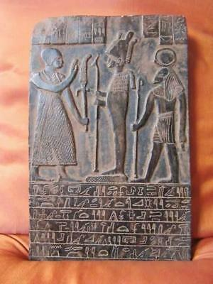 Amazing Hand Carved Antique Wall Plaque Ancient Egyptian Kings Pharaoh Crowned