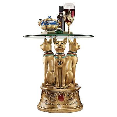 Egyptian Ancient Royal Feline Cat Glass Top Side Sculpture Table Egypt Decor NEW