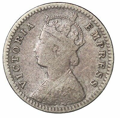 British India Queen Victoria 1889-C Silver 2 Annas KM#488