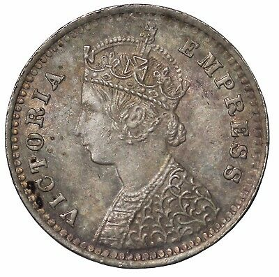 British India Queen Victoria 1897-B Bombay Mint Silver 2 Annas KM#488