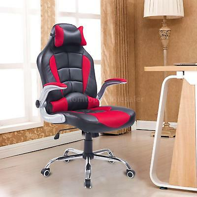 PU Leather Racing Office Chair Adjustable Recliner Gaming Computer L1J7